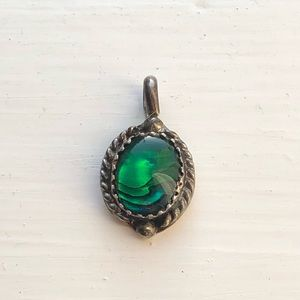 Vintage Sterling Abalone Shell pendant